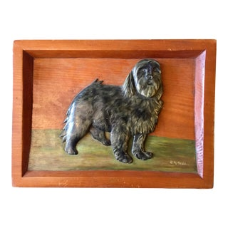 Vintage Folky Carved Relief Plaque of a Dog For Sale