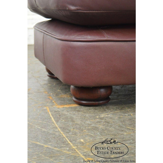 Leather Classic Leather Bun Foot Russet Brown Leather Ottoman For Sale - Image 7 of 13