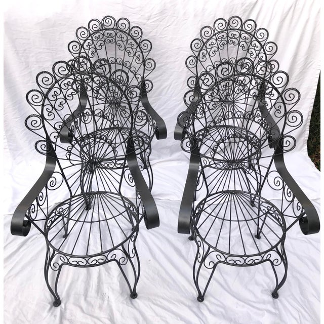 Black Vintage Wrought Iron Patio Chairs For Sale - Image 8 of 8