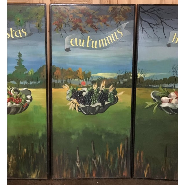 Set of 4 Large Scale Vintage Four Seasons Paintings For Sale In Dallas - Image 6 of 12
