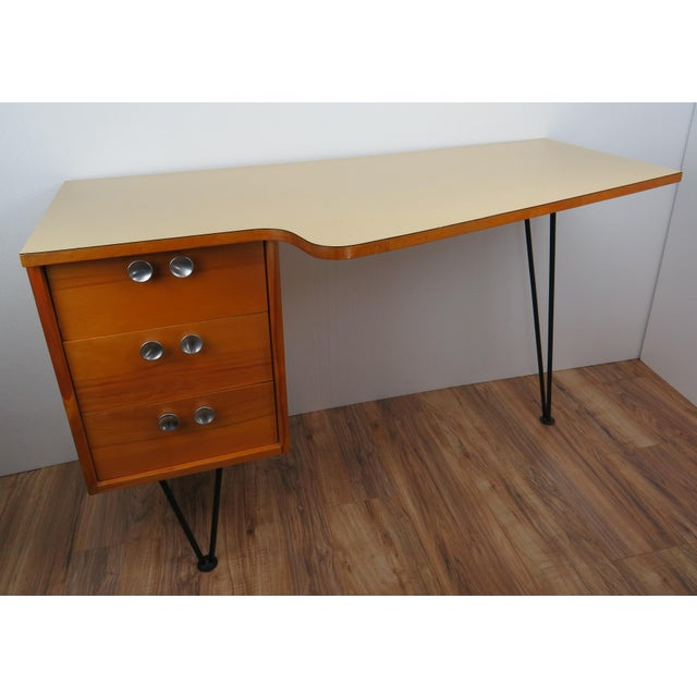 1950s 1950's Mid-Century Modern Mengel Writing Desk With Hairpin Legs For Sale - Image 5 of 13
