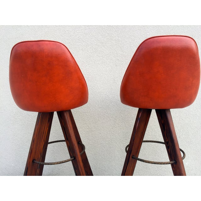Mid-Century Modern Barstools in Orange - A Pair - Image 5 of 11