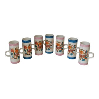 1960s Vintage Arnart 5th Ave Tall Cylindrical Psychedelic Ceramic Mugs - Set of 7 For Sale