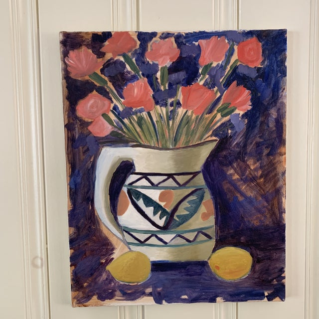 White Vintage Vivid Floral Still Life Canvas Painting For Sale - Image 8 of 8