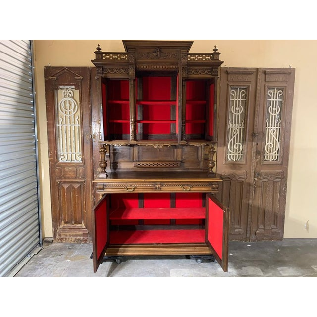 19th Century 19th Century French Gothic Renaissance Carved Walnut Double Buffet / Cupboard For Sale - Image 5 of 12