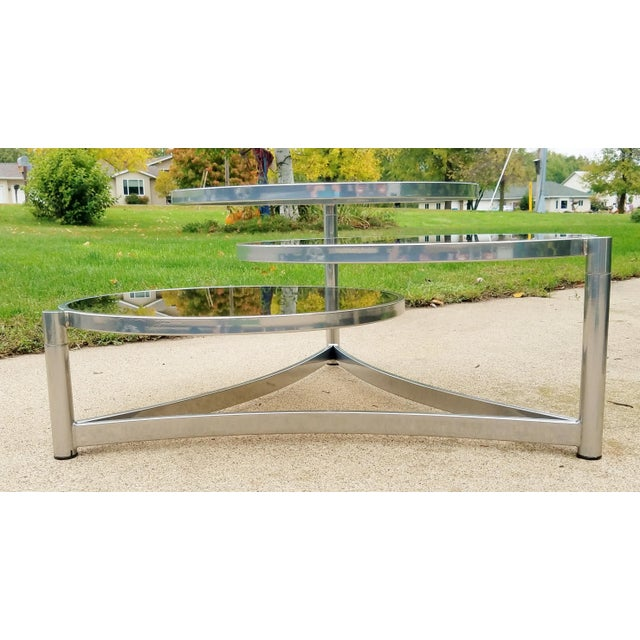 Silver Milo Baughman Tri Level Chrome and Glass Swivel Coffee Table For Sale - Image 8 of 11