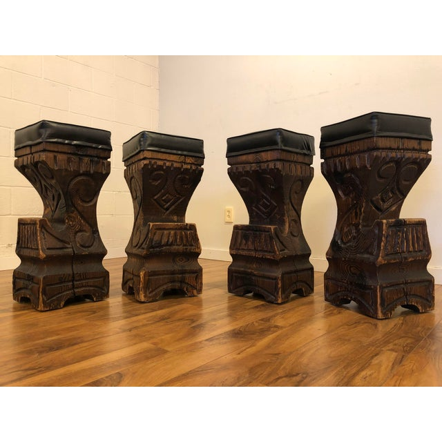 Stupendous Witco Carved Wood Tiki Bar Stools Set Of 4 Customarchery Wood Chair Design Ideas Customarcherynet