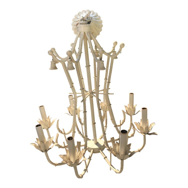 Vintage Tole Bamboo Chandelier - Image 1 of 6