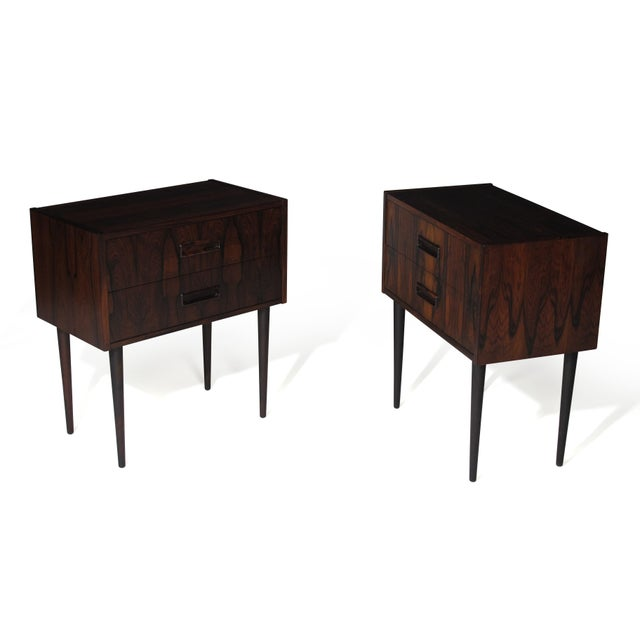 Mid 20th Century Danish Rosewood Nightstand Bedside Tables With Drawers - a Pair For Sale - Image 5 of 9