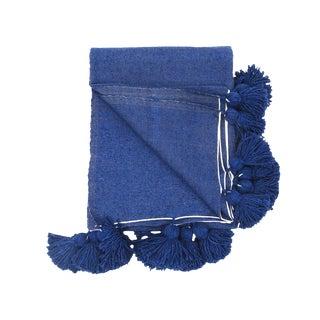 Moroccan Handwoven Indigo Pom Pom Blanket For Sale