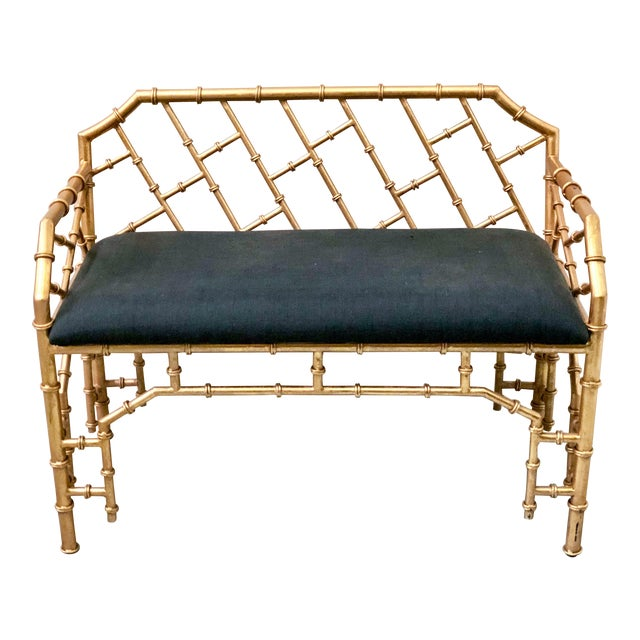 Gilt Metal Hollywood Regency Style Bench - Image 1 of 4