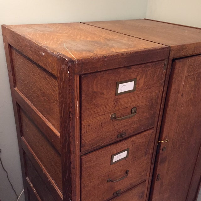 Antique Wooden Filing Cabinet With Attached Storage - Image 4 of 11