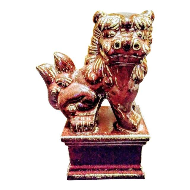 Burgundy Ceramic Foo Dog Statue For Sale