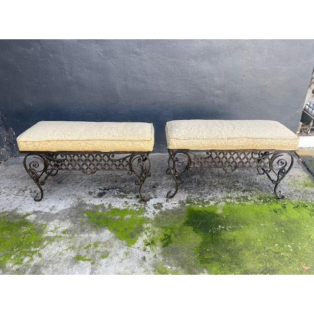Pair Of 1900's French Iron Benches With Trelice Rosette Motif For Sale - Image 13 of 13