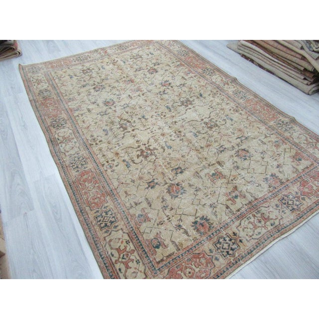 Fiber Vintage Turkish Oushak Distressed Rug- 6′7″ × 9′8″ For Sale - Image 7 of 12