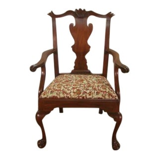 Henkel Harris Solid Mahogany Ball and Claw Foot Arm Chair For Sale
