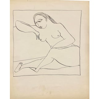 """Donald Stacy """"Lounge"""" C. 1950s Ink Mid Century Drawing For Sale"""