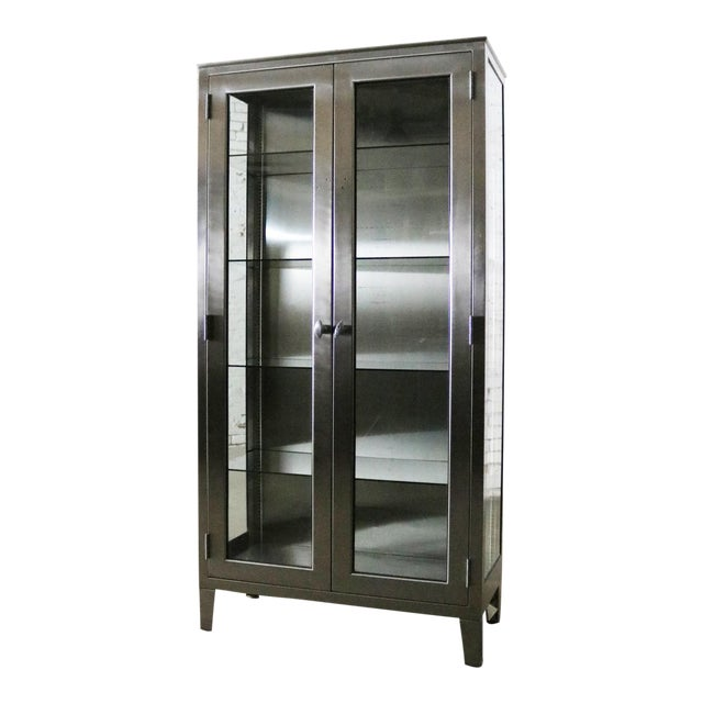 Vintage Stainless Steel Industrial Display Apothecary Medical Cabinet With Glass Doors and Shelves For Sale