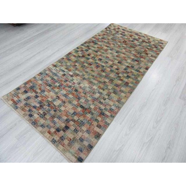 Vintage Mosaic Designed Turkish Deco Rug - 3′10″ × 8′ For Sale - Image 5 of 6