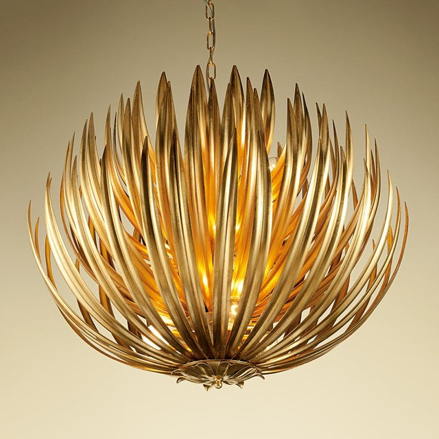 """Random curved metal leaves with internal gold leaf to reflect warm glow. Available in three sizes (28""""/ 710mm, 25.6"""" /..."""