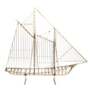 Large Mid Century Brass Clipper Ship Sculpture by Curtis Jeré For Sale