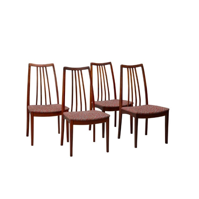 Brown Danish Rosewood High Back Dining Chairs- Set of 4 For Sale - Image 8 of 8