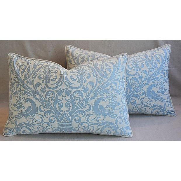 Custom Tailored Italian Fortuny Uccelli Feather/Down Pillows - A Pair For Sale - Image 10 of 11