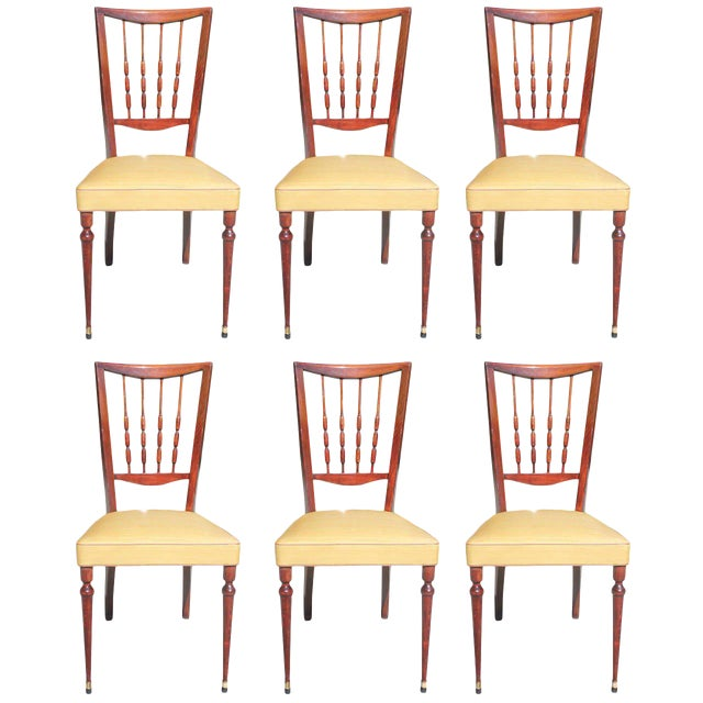 Set of Six French Art Deco Solid Mahogany Dining Chairs, circa 1940s - Image 1 of 9