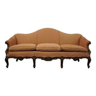 Vintage Antique Victorian Style Camel Back Upholstered Parlor Sofa For Sale