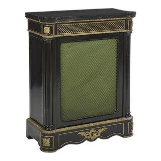19th Century Empire Napoleon III Ebonized & Brass Inlaid Pier Cabinet For Sale