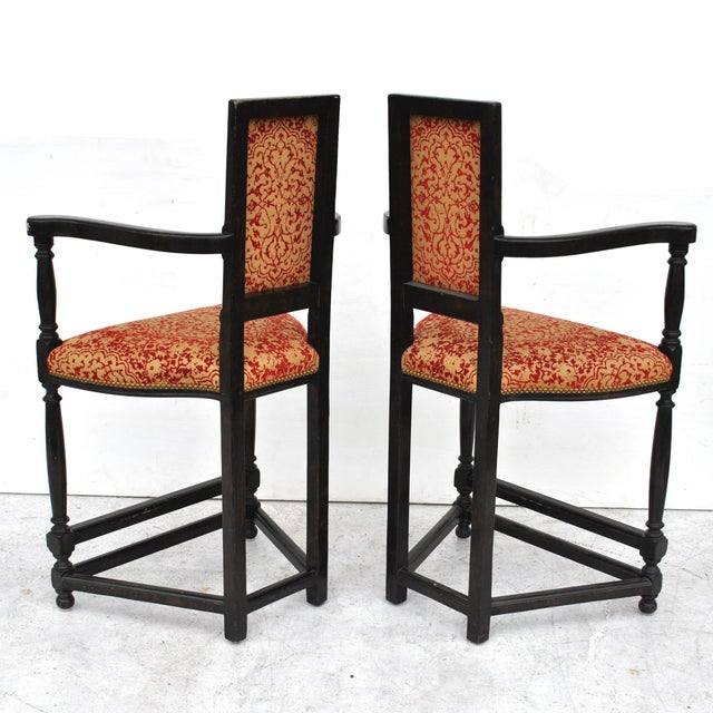 Early 21st Century Pair of Louis XIII Style Ebonized Stools by Dennis and Leen For Sale - Image 5 of 11