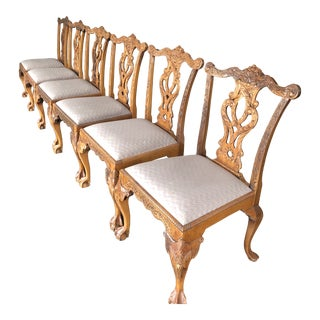1940s Vintage Upholstered Multi-Shade Chippendale Chairs- Set of 6 For Sale