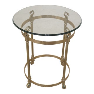 Modern Labarge Brass Round Glass Top Table For Sale