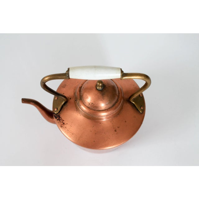 English Vintage Copper & Brass Kettle Teapot For Sale - Image 3 of 8