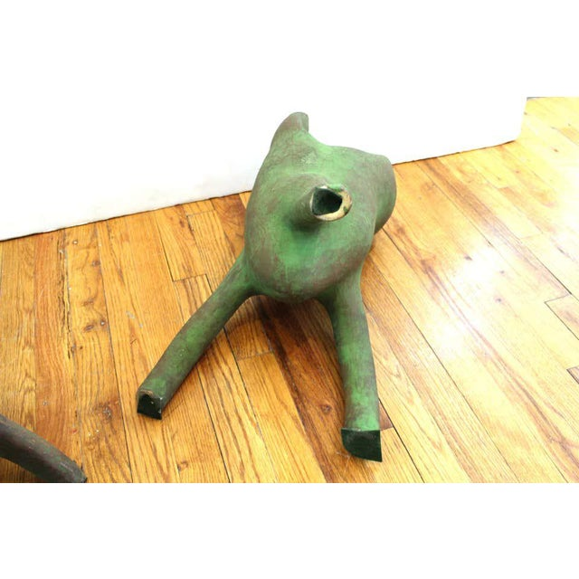 Green Vintage Modern Abstract Art Studio Ceramic Tripod Sculptures - a Pair For Sale - Image 8 of 13