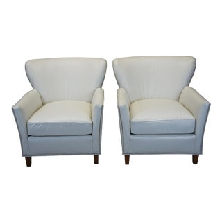 2 Harden White Leather & Nailhead Trim Wingback Club Chairs Arm Library Modern For Sale