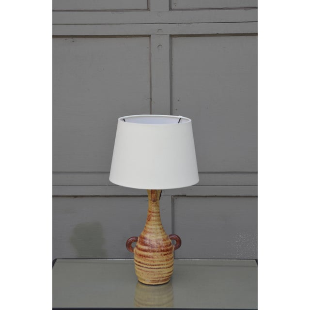 Chic French Gourd-shaped glazed ceramic lamp by Accolay Pottery, France. New custom cream European-style parchment shade...
