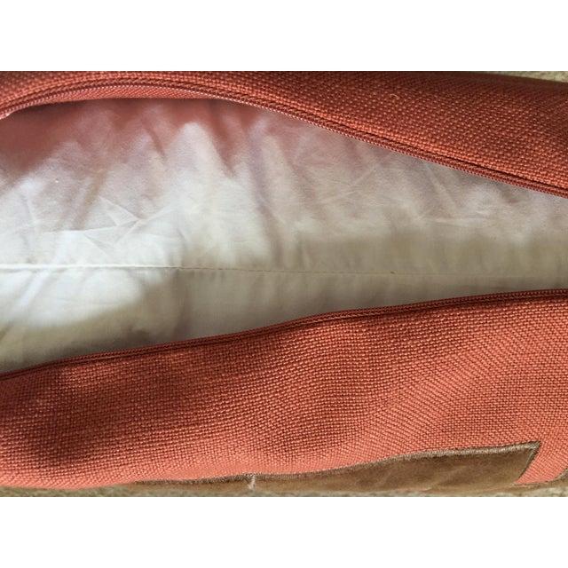 Linen & Velvet Accent Pillow-Feather Insert For Sale In New York - Image 6 of 10