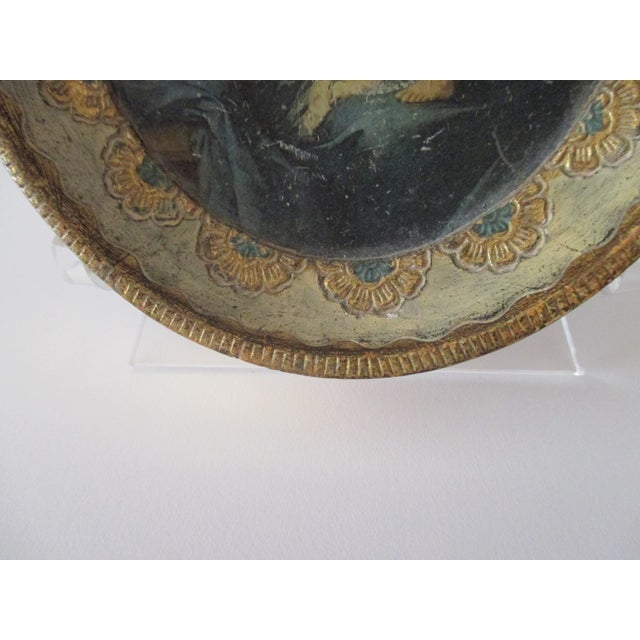 Traditional Petite Vintage Florentine Oval Print of Murillo: Madona and Child For Sale - Image 3 of 6