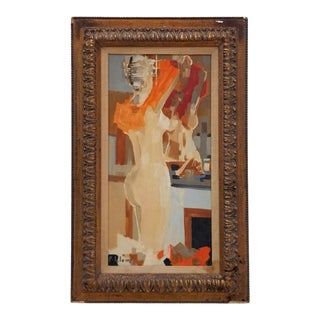 1950's Pierre Lelong French Abstract of Woman in the Mirror Painting For Sale