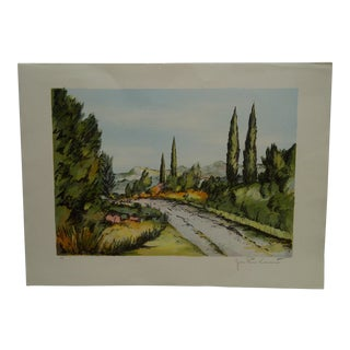 """20th century French Artists Proof Print """"Cypres"""" by Laurent For Sale"""