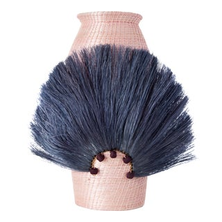 Fanned Out Sisal Vase Small Tall Blush/Ink For Sale