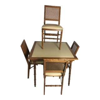 Stakmore Mid Century Modern Wood Bamboo Table & 4 Chairs For Sale