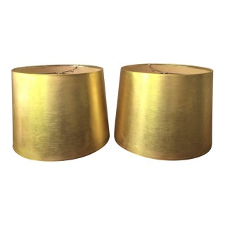 Vintage Perforated Gold Lamp Shades - a Pair For Sale