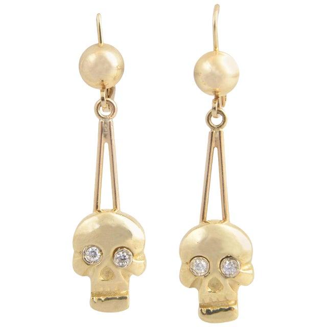 Skull Diamond and Gold Dangle Earrings For Sale