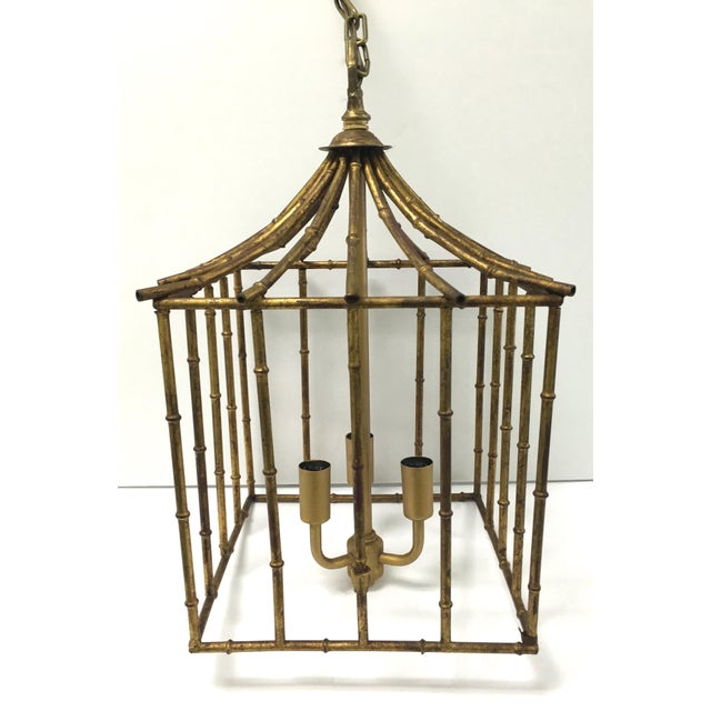 Italian Gilt Bamboo Birdcage Style Pendant Light For Sale - Image 5 of 7