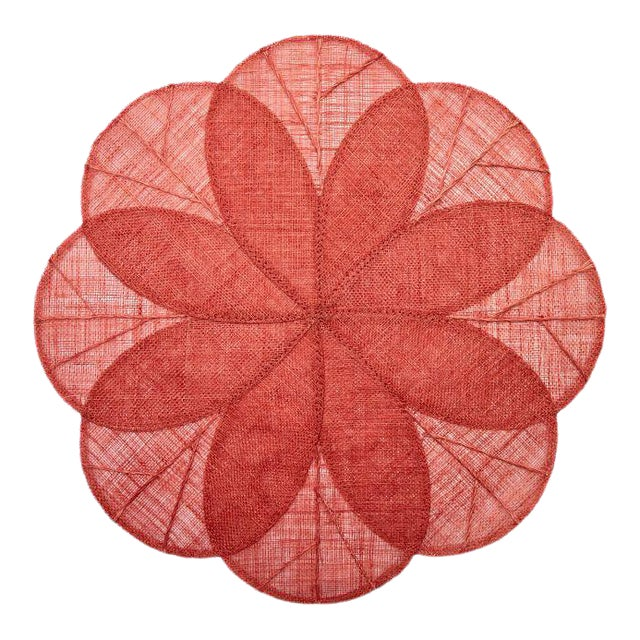 Sinamay Flower Placemats, Coral, Set of 4 For Sale