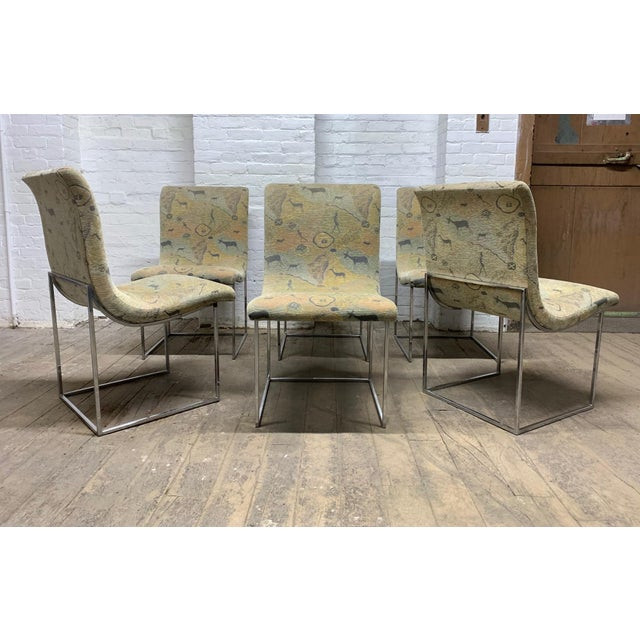 Mid-Century Modern Set of Six Milo Baughman Scoop Chrome Dining Chairs For Sale - Image 3 of 8