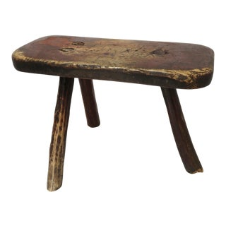 Antique American Country Primitive Farm Milking Stool For Sale