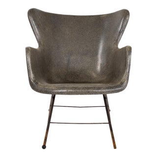 Lawrence Peabody for Selig Mid Century Wingback Fiberglass Shell Chair - Black For Sale